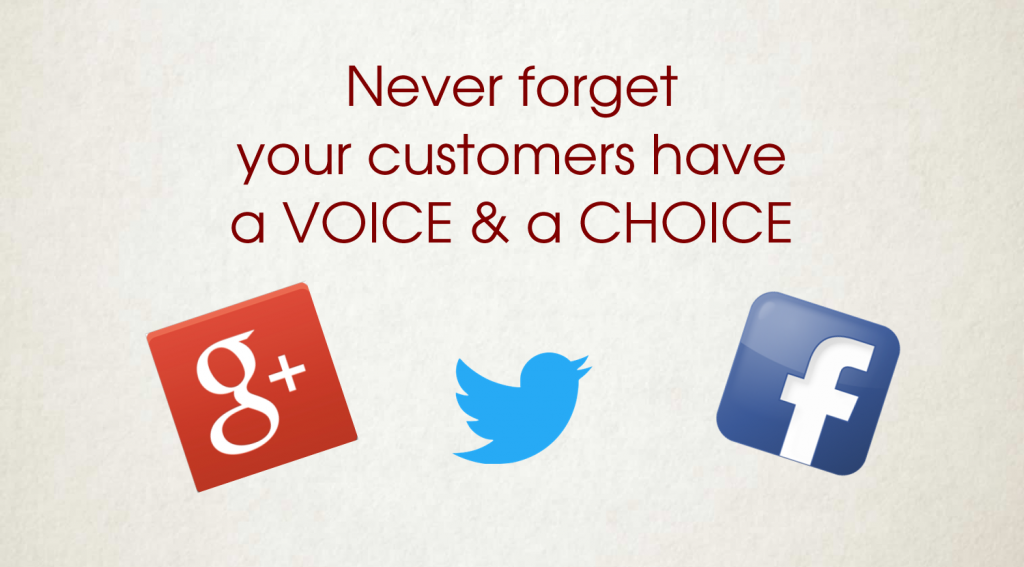 Never forget your customers have a choice and a voice